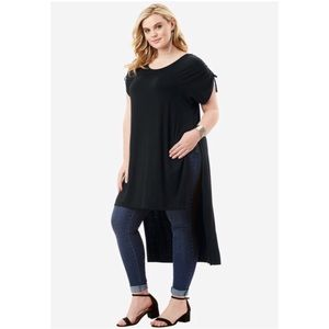Plus Size High low Slit black Tunic Top Size 18-20